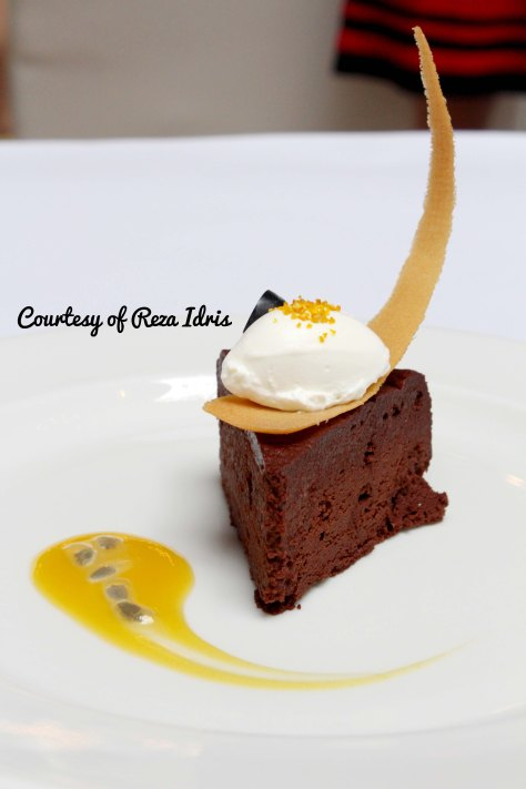 Chocolate Cake with Passion Fruit Sauce