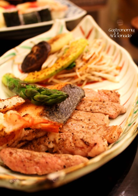 Teppanyaki Combo Lunch Set - Grilled Vegetables, US Beef Steak, Prawn, Scallop, Salmon, Sauted Mixed Vegetables