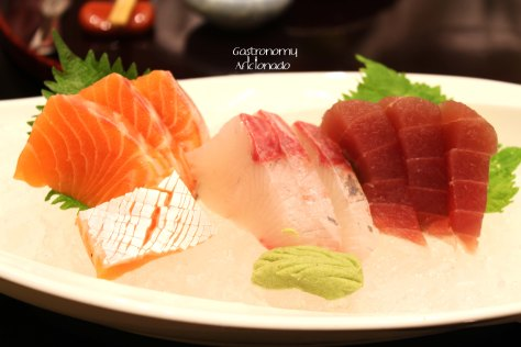 Salmon, Tuna, and Kanpachi Sashimi