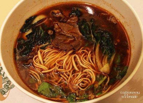 Spicy beef soup la mian in 'Szechuan' style