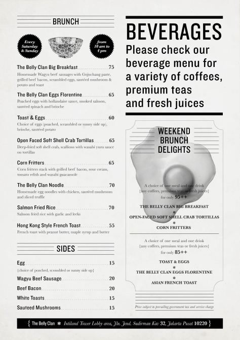 The Belly Clan - Brunch Menu