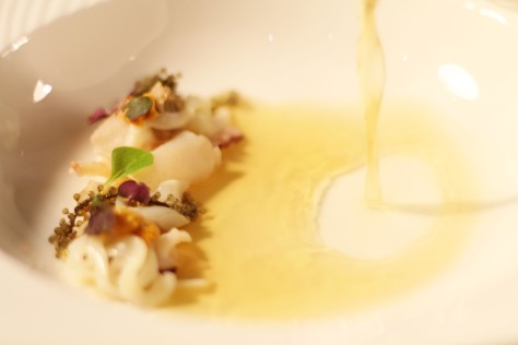 RFC - Chef Angela's sea consomme with scallops, octopus, shrimp, clams, and sea urchin