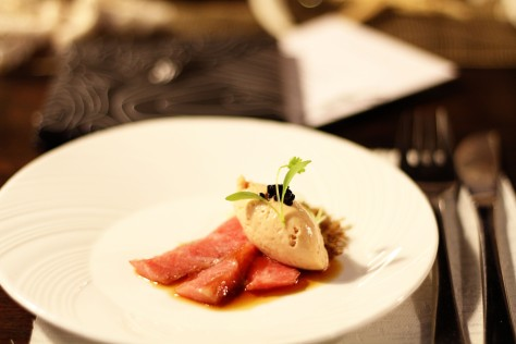 RFC - Chef Arnold's tuna belly, foie gras mousse, caviar, yuzu, and soy sauce