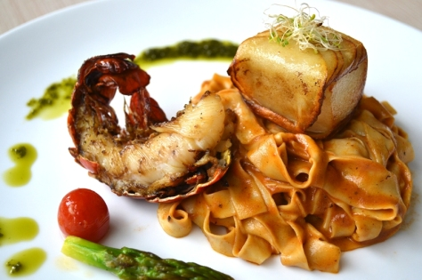 Tagliatelle with Cod Fish Fillet and Creamy Lobster
