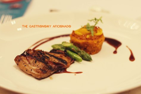 Grilled milkfish belly tocino with crab roe risotto