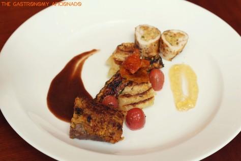 crusted lamb loin with coconut chicken gratin potato, zucchini and port wine jus