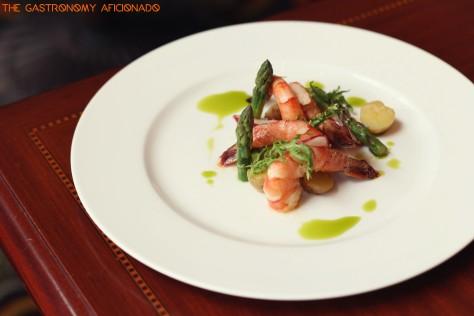 Spot prawns on rainbow radish potato salad with spiced yogurt dressing