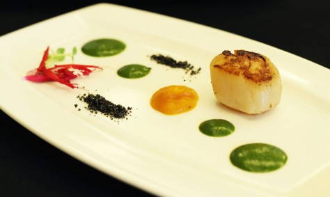 Seared scallops, coriander pesto, and butternut squash puree by Arimbi Nimpuno