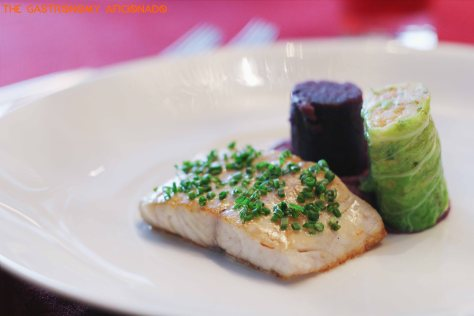 Seared fillet barramundi from Java Sea