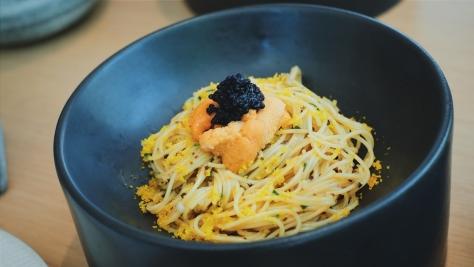 Karasumi pasta with uni