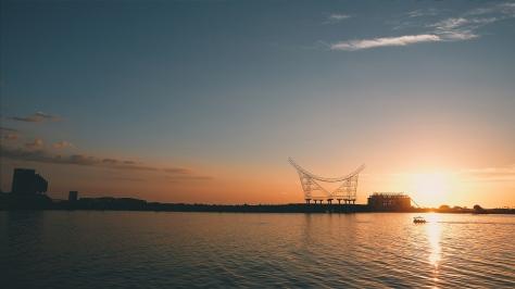 The sunset as seen from Pantai Losari