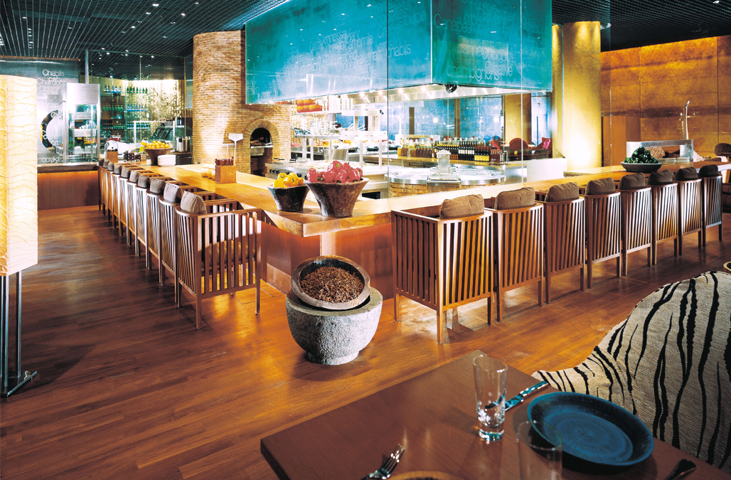 The interior design of Rosso, Shangri-La Jakarta.